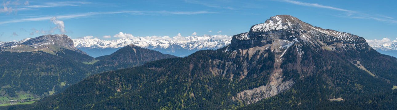 French landscape - Chartreuse. Panoramic view over the peaks of Chartreuse and the french Alps.