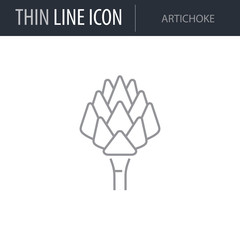 Symbol of Artichoke. Thin line Icon of Food. Stroke Pictogram Graphic for Web Design. Quality Outline Vector Symbol Concept. Premium Mono Linear Beautiful Plain Laconic Logo