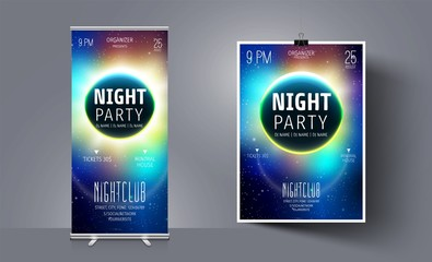 Party Flyer Template on the Background of the Moon and Space. Abstract Vector Background. Night Club Flyer. Galaxy Illustration. Brochure Template  Background. Vector Cosmic Illustration.