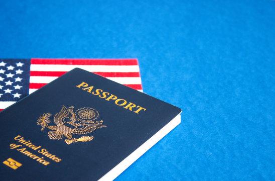 American flag and passport.