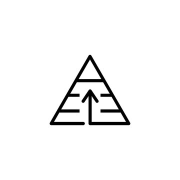 Needs pyramid line icon. Striped triangle with arrow up. Finance concept. Vector illustration can be used for topics like hierarchy, economy, motivation
