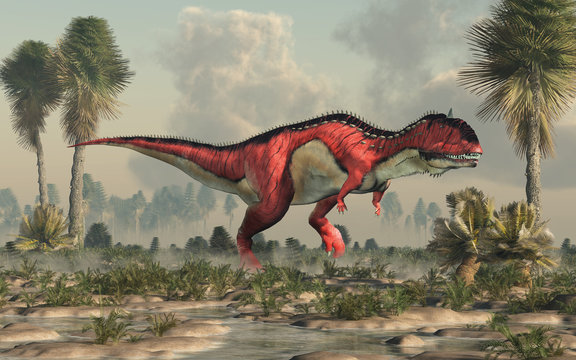 A red and white Rajasaurus with black stripes in a prehistoric swamp. Rajasaurus was an abelisaurid theropod dinosaur of the Late Cretaceous in India. 3D Rendering