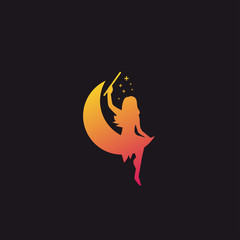 Eye Catching of fairy and moon logo/icon inspiration, with gradient style