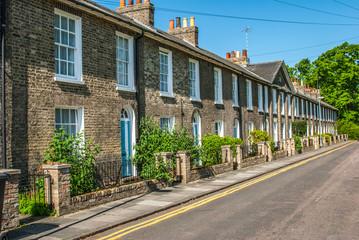 Row of terraced house in Cambridge, England.