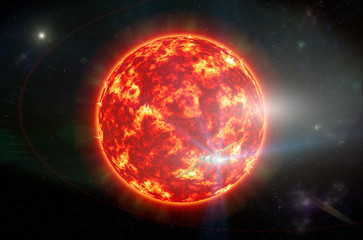 3D rendering of a spacecraft approaching the sun