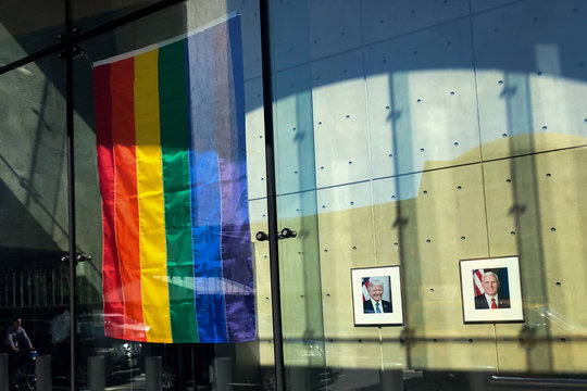 A Rainbow flag is seen hanging in the lobby of the United States Mission to the United Nations in New York