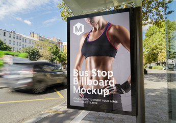 Vertical Advertisement in Bus Stop Mockup