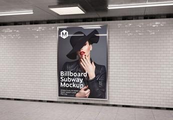 Vertical Billboard in Subway Station Mockup