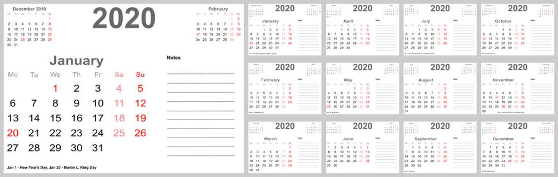 Kalender 2020 für die USA mit Feiertagen, Platz für Notizen und oben mit vorherigem und folgendem Monat. Set mit 12 einzelnen Monaten. Wochenstart Montag.