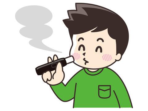 電子タバコを吸う男性
