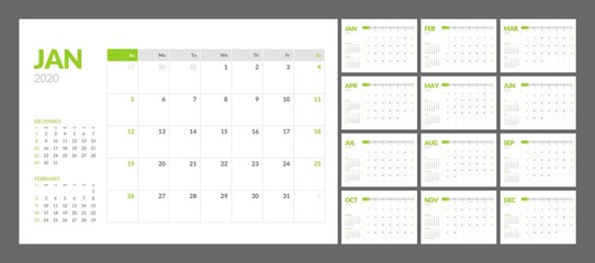 Calendar for 2020 year in clean minimal table simple style. Week Starts on Sunday. Set of 12 Months.