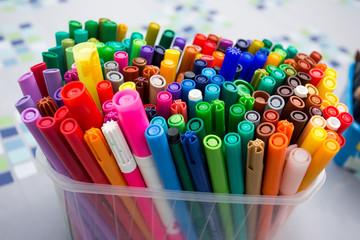 Felt pens in plastic box