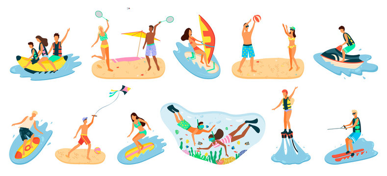 People activity relaxing by coastline vector, man and woman staying on beach, banana boat riding and playing tennis and volleyball, scuba diving snorkelling. Beach activities water sport