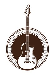 electric guitar drawn tattoo icon