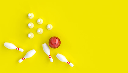 Wall Mural - 3d render image with bowling, ball and skittles on a yellow background