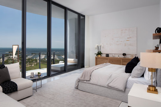 Master Bedroom of Miami Apartment Overlooking Key Biscayne