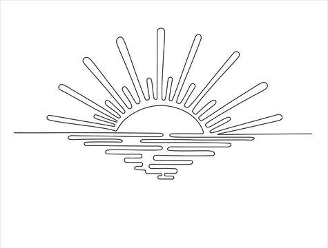 Sunset on the sea.One line sketch illustration.