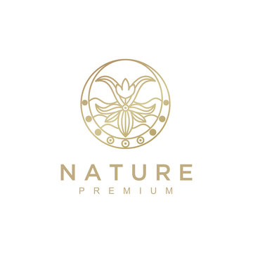 Nature abstract plant logo. Round emblem flower in a circle in linear style. flower shop, cosmetics, ecology concepts, health, spa, yoga Center.