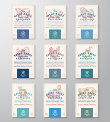 Great Taste Perfect Meat and Poultry. Abstract Vector Meat Packaging Design Banners or Labels Collection. Retro Typography and Hand Drawn Animals an Birds Silhouettes.