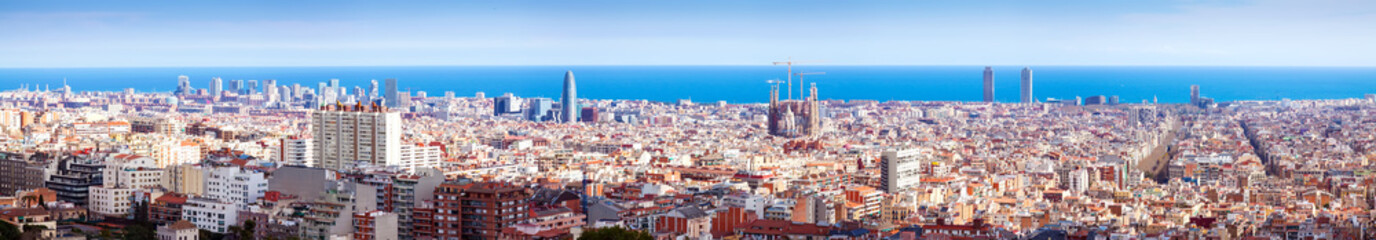 beautiful view of Barcelona in sunny day