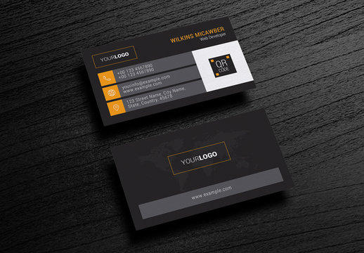 Black Business Card Layout with Orange Accents