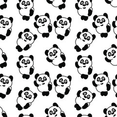 Seamless Black and White Pattern with Panda Bears. Abstract Repetition Silhouettes.