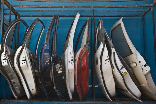 Row of Dismantled Car Doors