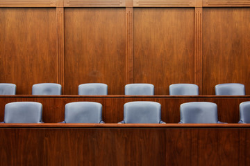 Empty chairs in jury box