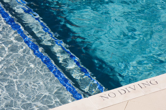 Swimming Pool Edge With No Diving Sign