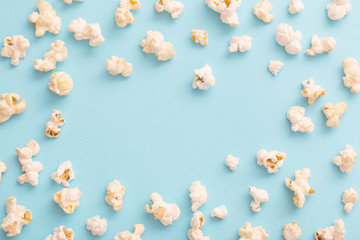 pop corn on blue background