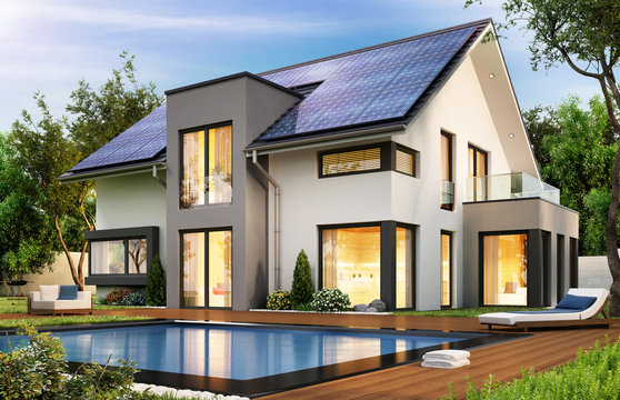 Modern house with solar panels on the gable roof