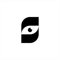 Letter S with eye logo concept