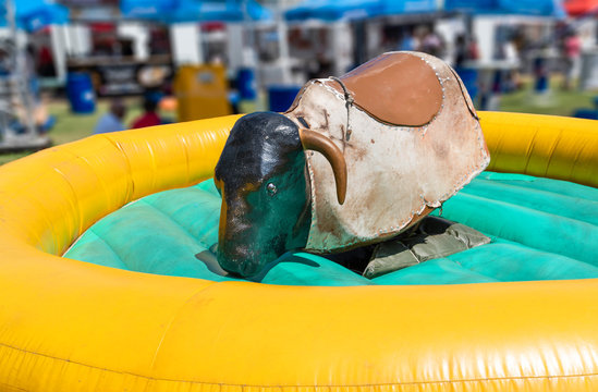 View of a mechanical bull machine with nobody