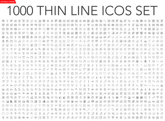 Set of 1000 thin line icons - business, finance, office, banking, SEO, travel, drugs, dental, medical, web, baby, web development, digital marketing, conscious living, navigation, graphic design, pets Wall mural