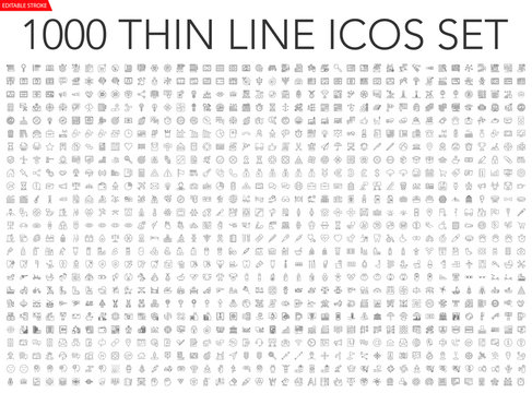 Set of 1000 thin line icons - business, finance, office, banking, SEO, travel, drugs, dental, medical, web, baby, web development, digital marketing, conscious living, navigation, graphic design, pets
