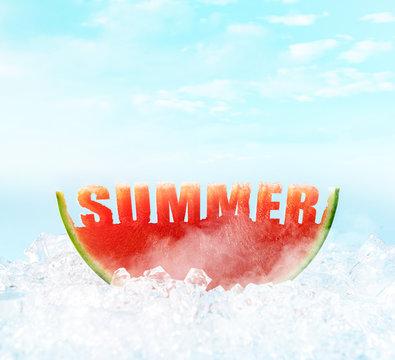 ripe fresh watermelon on ice