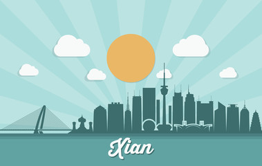 Fototapete - Xian skyline - China, Xi'an - vector illustration