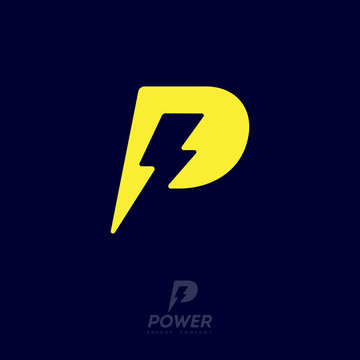 Power logo. P letter and lightning on the dark background. P monogram. Power and energy technology.