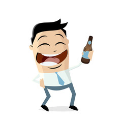 happy asian businessman with bottle of beer closing work