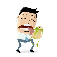 funny asian businessman is licking a frog