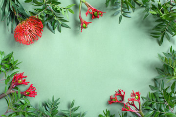 Wall Mural - Green background with tropical flowers and leaves