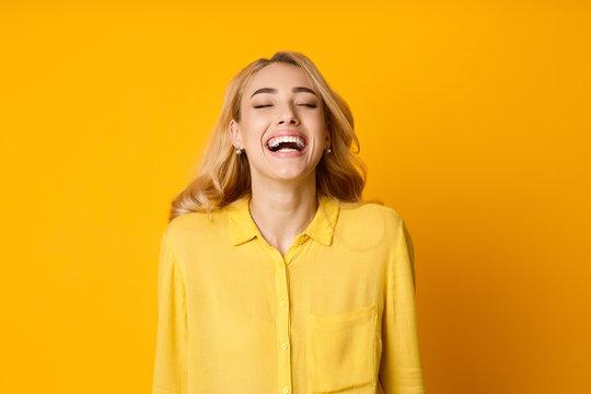 Woman Laughing Out Loud, Hearing Funny Joke