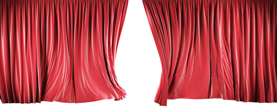 Theater curtains isolated on white background with clipping path.