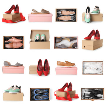 Set of different stylish shoes and boxes on white background