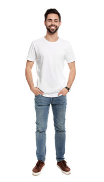 Young man in t-shirt on white background. Mock up for design