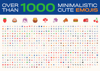 Over Than 1000 Minimalistic Cute Emojis, All Type Emoticons, Vector Icons