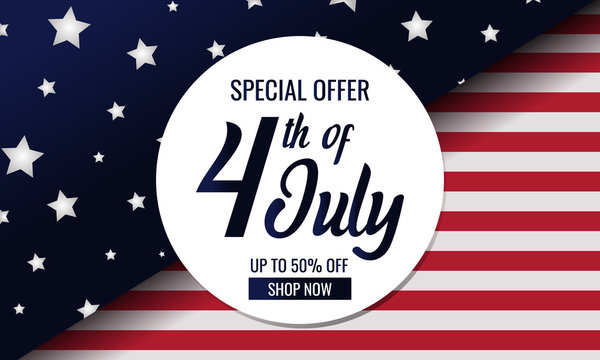 Independence day, 4th of july special offer card or background. vector illustration.