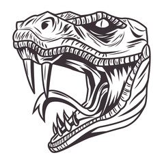 snake head drawn in black and white icon