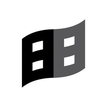 Flag with number 88 logo design vector