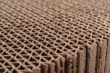 edge of an cardboard corrugated block as background